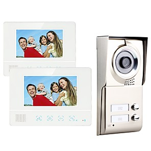 cheap Video Door Phone Systems-MOUNTAINONE SY811WMC12 Two Apartment Family Video Door Phone Hands-free 480*234Pixel One to Two video doorphone