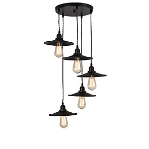cheap Lamp Bases & Connectors-5-Light Vintage Industrial Metal Shade Cluster Chandelier 5-Head Living Room Dining Room Pendant Lamp