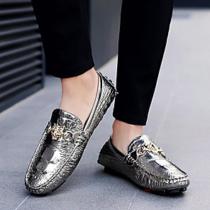 cheap Men's Slip-ons & Loafers-Men's Dress Shoes Fall Casual Daily Office & Career Loafers & Slip-Ons PU Wear Proof White / Silver / Black