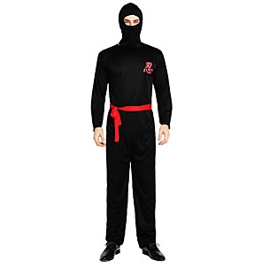 cheap Men's & Women's Halloween Costumes-Ninja Costume Men's Adults' Halloween Halloween Carnival Children's Day Festival / Holiday Polyster Outfits Black Solid Colored Halloween