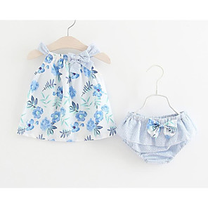 cheap Kids Collection Under $8.99-Baby Girls' Cute / Active Daily / Holiday Floral Bow / Print Sleeveless Regular Regular Cotton Clothing Set Blue / Toddler