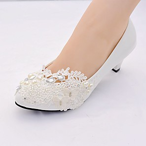 cheap Wedding Shoes-Women's Wedding Shoes Mesh Spring / Summer / Fall Cone Heel Pointed Toe Classic Sweet Wedding Party & Evening Birthday Rhinestone / Pearl Solid Colored Lace / Leatherette Walking Shoes White