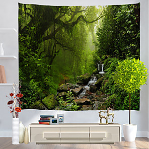 cheap Wall Tapestries-Wall Tapestry Art Decor Blanket Curtain Picnic Tablecloth Hanging Home Bedroom Living Room Dorm Decoration Nature Landscape Misty Forest Jungle River
