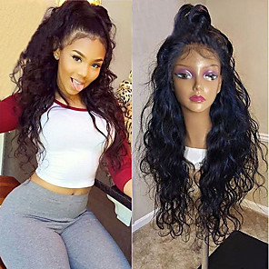 cheap Synthetic Lace Wigs-Synthetic Lace Front Wig Curly Minaj Layered Haircut Lace Front Wig Burgundy Long Natural Black Black / Brown Burgundy Synthetic Hair Women's with Baby Hair Heat Resistant Natural Hairline Black