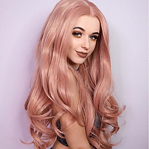 cheap Synthetic Lace Wigs-Synthetic Lace Front Wig Wavy Middle Part Lace Front Wig Blonde Long Synthetic Hair Women's Heat Resistant Dark Roots African American Wig Blonde
