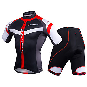 cheap Cycling Jersey & Shorts / Pants Sets-Realtoo Men's Short Sleeve Cycling Jersey with Shorts Black / Red Blue / White Stripes Bike Clothing Suit 3D Pad Sports Polyester Spandex Stripes Mountain Bike MTB Road Bike Cycling Clothing Apparel