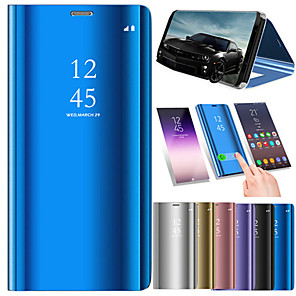 cheap Samsung Case-Case For Samsung Galaxy Note 8 / Note 5 / Note 4 with Stand / Plating / Mirror Full Body Cases Solid Colored Hard PU Leather