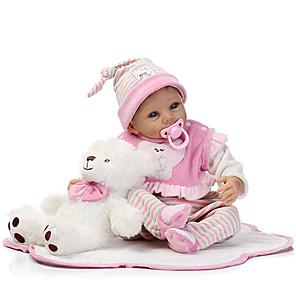ieftine Păpuși Renăscute-NPKCOLLECTION 22 inch NPK DOLL Păpuși Renăscute Girl Doll Bebe Fetiță Reborn Baby Doll Nou nascut natural Drăguț Siguranță Copii Non Toxic cu haine și accesorii pentru cadouri de aniversare și