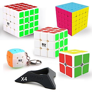 cheap Magic Cubes-Speed Cube Set 9 pcs Magic Cube IQ Cube QIYI QIYI-A Pyramorphix Alien Mini 2*2*2 3*3*3 4*4*4 5*5*5 Magic Cube Stress Reliever Puzzle Cube Smooth Sticker Professional Level Gaming Kid's Teen Adults'