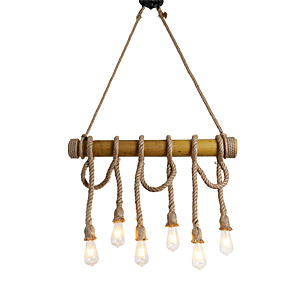 cheap Pendant Lights-6-Light 6-Head 80cm Vintage Hemp Rope With Bamboo Pendant Lights Loft Creative Living Room Restaurant Clothing Store Lamp