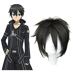 cheap Anime Costumes-SAO Alicization Kirito Cosplay Wigs Men's 12 inch Heat Resistant Fiber Anime Wig