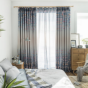 cheap Curtains Drapes-Two Panel Korean Pastoral Style Printed Blackout Curtains For Living Room Bedroom Dining Room Children's Room Curtains