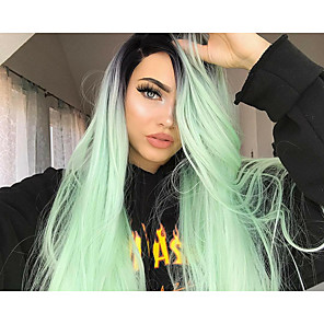 cheap Synthetic Lace Wigs-Synthetic Lace Front Wig Straight Middle Part Lace Front Wig Long Mint Green Synthetic Hair Women's Women Synthetic Fashion Green / Ombre Hair / Glueless