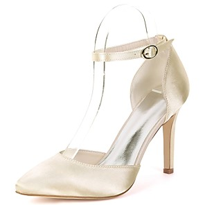 cheap Wedding Shoes-Women's Wedding Shoes Stiletto Heel Pointed Toe Buckle Satin Basic Pump Spring & Summer Red / Champagne / Ivory