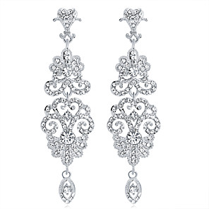 cheap Earrings-Crystal Drop Earrings Chandelier Drop Ladies Fashion Elegant Bridal Earrings Jewelry Silver For Wedding Party / Evening Masquerade Engagement Party Prom Promise