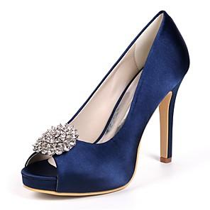 cheap Wedding Shoes-Women's Wedding Shoes Glitter Crystal Sequined Jeweled Stiletto Heel Peep Toe Rhinestone Satin Basic Pump Spring Purple / Red / Champagne
