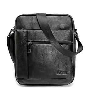 cheap Men's Bags-Men's Zipper Genuine Leather Shoulder Messenger Bag Leather Bag Black / Brown