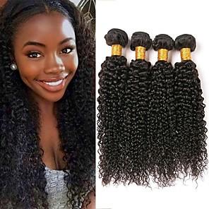 cheap Human Hair Weaves-4 Bundles Brazilian Hair Kinky Curly Human Hair 200 g Natural Color Hair Weaves / Hair Bulk Human Hair Extensions 8-28 inch Natural Color Human Hair Weaves Women Extention Best Quality Human Hair
