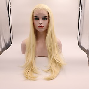 cheap Human Hair Capless Wigs-Synthetic Lace Front Wig Straight Layered Haircut Lace Front Wig Blonde Medium Length Light Blonde Synthetic Hair Women's Curler & straightener Blonde