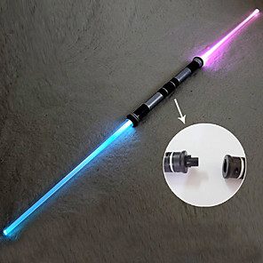 cheap Videogame Cosplay Accessories-7 Color LED Lighting Action Figure Lightsabers Sounds Double Bladed Light Plastics Teenager Children's Unisex Toy Gift 2 pcs