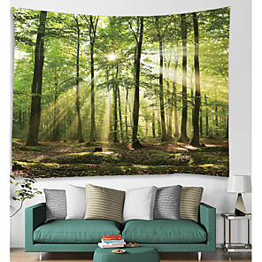 cheap Abstract Paintings-Wall Tapestry Art Decor Blanket Curtain Picnic Tablecloth Hanging Home Bedroom Living Room Dorm Decoration Forest Nature Landscape Sunshine Through Tree