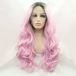 cheap Synthetic Lace Wigs-Synthetic Lace Front Wig Wavy Middle Part Lace Front Wig Pink Long Black / Pink Synthetic Hair Women's Gift Silk Base Hair Ombre Hair Black Pink