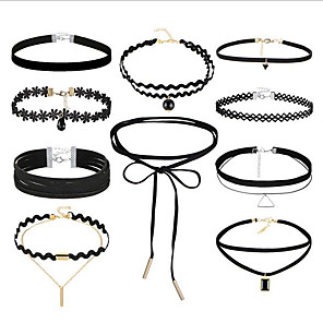 cheap Choker Necklaces-Women's Choker Necklace Tattoo Choker Necklace Stacking Stackable Ladies Vintage Gothic Multi Layer Leather Lace Fabric Black 36 cm Necklace Jewelry 10pcs For Gift Street Cosplay Costumes