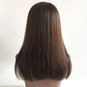 povoljno Perike s ljudskom kosom-Virgin kosa Full Lace Perika Bob frizura Sa šiškama Rihanna stil Brazilska kosa Ravan kroj Smeđa Perika 130% Gustoća kose s dječjom kosom Žene Kratko Srednja dužina Dug Perike s ljudskom kosom Aili