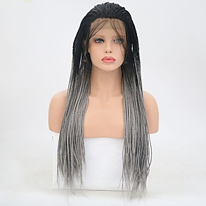 cheap Synthetic Lace Wigs-Synthetic Lace Front Wig Straight Braid Lace Front Wig Long Black / Grey Synthetic Hair Women's Natural Hairline Gray