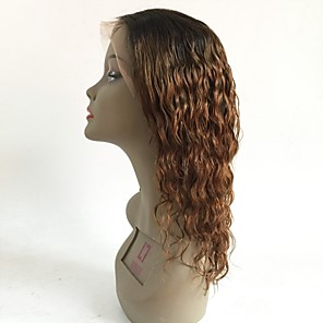 cheap Human Hair Wigs-Virgin Human Hair Lace Front Wig Layered Haircut Rihanna style Brazilian Hair Wavy Auburn Wig 130% Density with Baby Hair Ombre Hair Dark Roots Women's Short Medium Length Long Human Hair Lace Wig