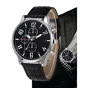 cheap Quartz Watches-Men's Dress Watch Quartz Quilted PU Leather Black / Brown Chronograph Large Dial Analog Luxury Classic Vintage - Black Brown One Year Battery Life / SSUO LR626
