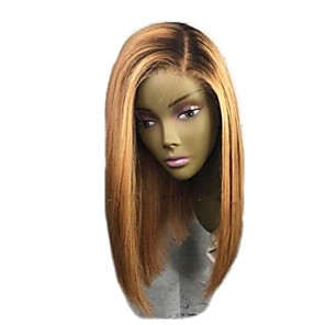 cheap Synthetic Trendy Wigs-Remy Human Hair Lace Front Wig Bob Short Bob style Brazilian Hair Straight Blonde Two Tone Wig 130% Density with Baby Hair Ombre Hair Dark Roots Women's Short Human Hair Lace Wig Aili Young Hair