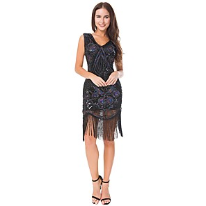 cheap Historical & Vintage Costumes-The Great Gatsby Charleston Vintage 1920s Roaring 20s Flapper Dress Dress Women's Lace Sequins Costume Black Vintage Cosplay Party Homecoming Prom Sleeveless Knee Length Ball Gown Plus Size