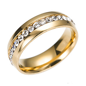 cheap Rings-Women's Band Ring Eternity Band Ring Groove Rings Cubic Zirconia tiny diamond Gold Silver Steel Stainless Circle Ladies Classic Fashion Wedding Gift Jewelry