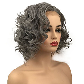cheap Synthetic Lace Wigs-Synthetic Lace Front Wig Curly Bob Lace Front Wig Medium Length Grey Synthetic Hair Women's For Black Women Gray StrongBeauty
