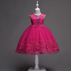 お買い得  女児 ドレス-子供 女の子 ベーシック 甘い パーティー 誕生日 ソリッド ノースリーブ 膝丈 ドレス ピンク / コットン