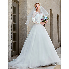 cheap Wedding Wraps-Ball Gown Wedding Dresses Bateau Neck Chapel Train Lace Tulle Long Sleeve Beautiful Back Illusion Sleeve with Appliques Crystal Brooch Button 2020