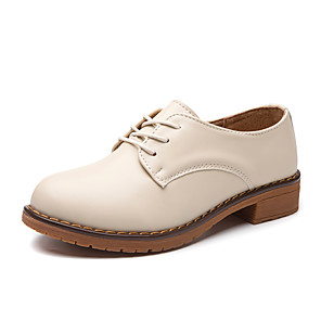cheap Women's Boots-Women's Flats Flat Heel Round Toe Cowhide Casual Walking Shoes Spring &  Fall / Spring Brown / Black / Beige