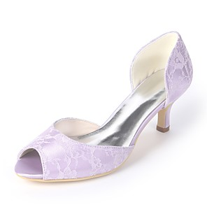 cheap Wedding Shoes-Women's Wedding Shoes Plus Size Kitten Heel Peep Toe Basic Pump Wedding Party & Evening Floral Satin White / Light Purple / Blue / EU42