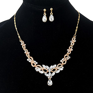 cheap Jewelry Sets-Women's Crystal Pendant Necklace Dangle Earrings Pear Cut Long Ladies Rhinestone Earrings Jewelry Gold For Wedding Evening Party Night out&Special occasion Masquerade Engagement Party Prom