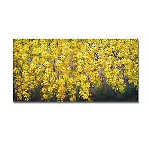 cheap Abstract Paintings-Oil Painting Hand Painted - Abstract Floral / Botanical Comtemporary Modern Stretched Canvas