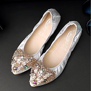 cheap Women's Flats-Women's Flats Glitter Crystal Sequined Jeweled Plus Size Low Heel Comfort Outdoor PU Summer Black / Gold / Silver / EU37