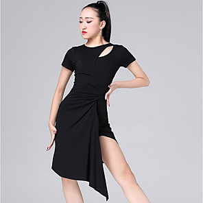 cheap Latin Dancewear-Latin Dance Dress Ruching Women's Performance Short Sleeve Modal