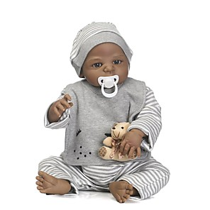 cheap Reborn Doll-NPKCOLLECTION 24 inch NPK DOLL Reborn Doll Baby Boy African Doll Reborn Toddler Doll lifelike Gift Child Safe Non Toxic Tipped and Sealed Nails Full Body Silicone with Clothes and Accessories for