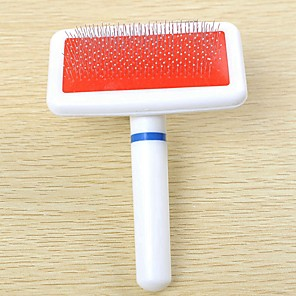 cheap Dog Grooming Supplies-Dog Rabbits Cat Brushes Cleaning Plastic Stainless steel Comb Brush Massage Pet Grooming Supplies White