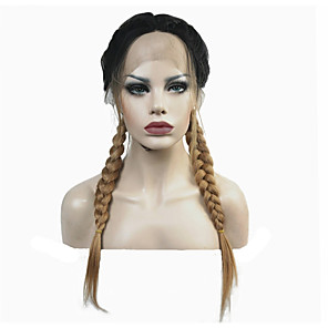cheap Synthetic Lace Wigs-Synthetic Lace Front Wig Straight Middle Part Lace Front Wig Blonde Long Synthetic Hair Women's Ombre Hair Braided Wig Blonde StrongBeauty