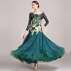 cheap Ballroom Dancewear-Ballroom Dance Dress Pattern / Print Split Joint Women's Performance High Spandex Lace