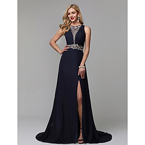 cheap Prom Dresses-A-Line Luxurious Blue Engagement Formal Evening Dress Jewel Neck Sleeveless Court Train Chiffon with Crystals Beading Split 2020