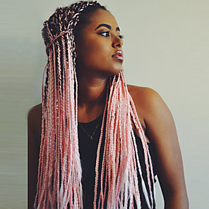cheap Synthetic Lace Wigs-Synthetic Wig Box Braids Kardashian Braid Wig Pink Ombre Long Black / Pink Synthetic Hair 24 inch Women's Ombre Hair Middle Part Braided Wig Pink Ombre