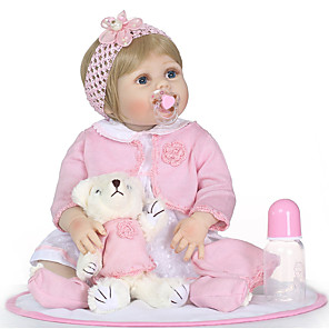 cheap Reborn Doll-NPKCOLLECTION 24 inch NPK DOLL Reborn Doll Girl Doll Baby Girl Reborn Toddler Doll Newborn Gift Child Safe Non Toxic Artificial Implantation Blue Eyes Full Body Silicone with Clothes and Accessories